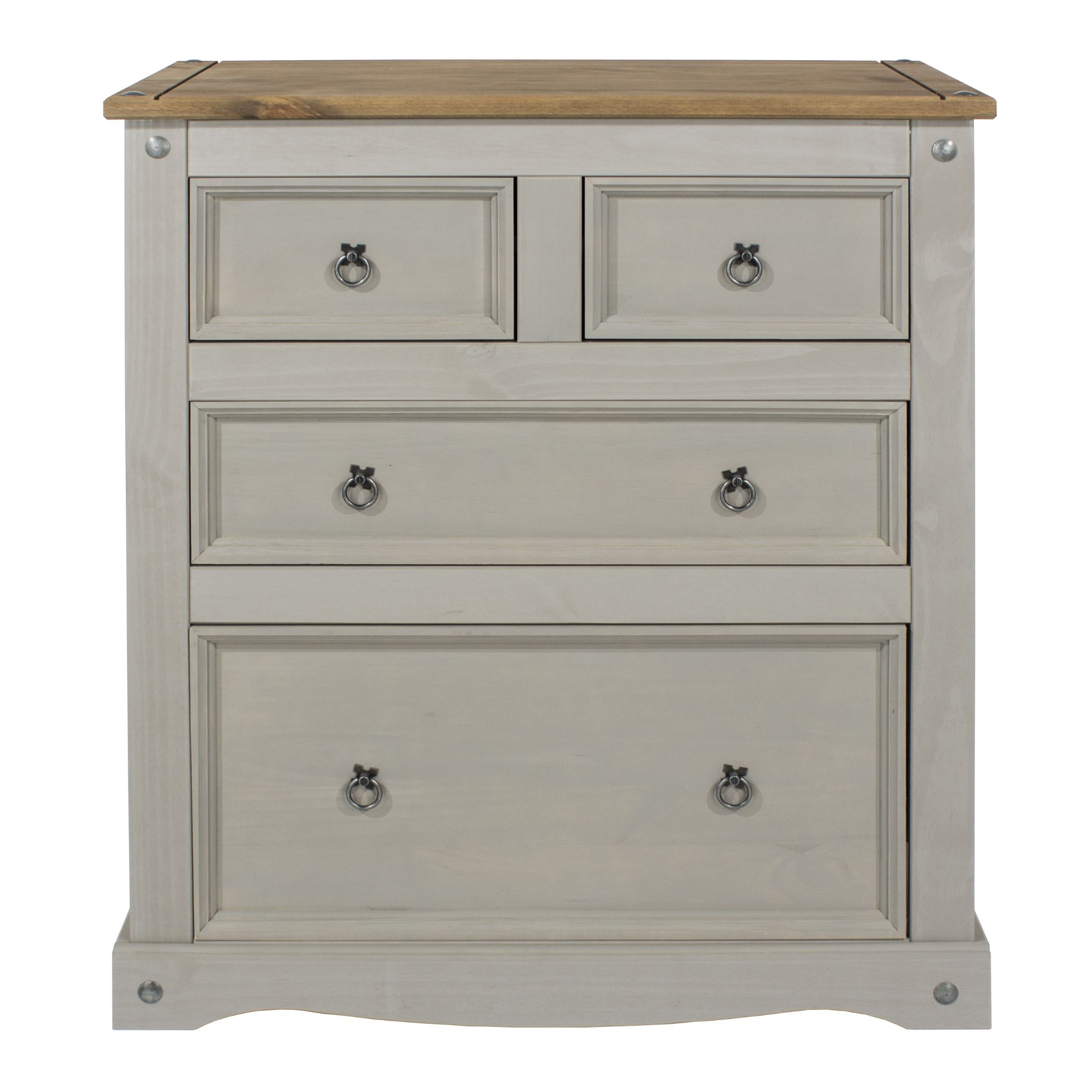 Corona Grey Wash Bedroom Set With Natural Solid Pine Tops